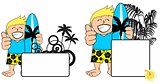 kid surfer expression cartoon copyspace happy