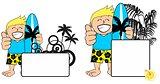kid surfer expression cartoon copyspace happy