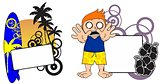 kid surfer expression cartoon copyspace 7