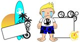 kid surfer expression cartoon copyspace crying