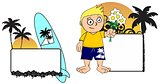 kid surfer expression cartoon copyspace love