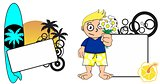 kid surfer expression cartoon copyspace flowers