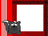 sad skunk ball frame cartoon background