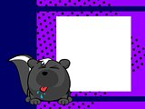 cute skunk ball frame cartoon background