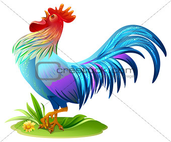 Blue bird cock. Blue Rooster symbol 2017 year on east horoscope