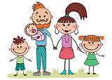 Vector illustration, cartoon, family, mom and dad, children,