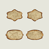 Set vector vintage dirty paper labels.
