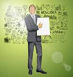 Vector Businessman With Empty Write Board