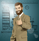 Vector Business Man With Beard Shows Well Done