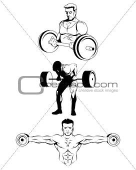 Three bodybuilders on white