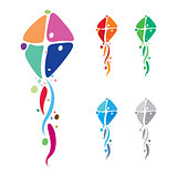 Colorful kites emblem design