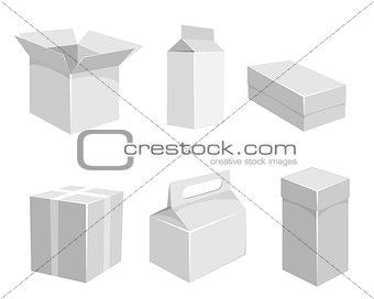 Six grey containers