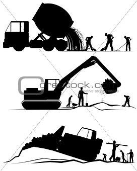 Three construction scenes