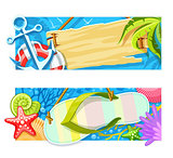 Summer sea beach rest banners. Vector