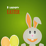 Easter card with rabbit and colored eggs on background
