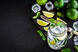 Drink with lime, mint and ice