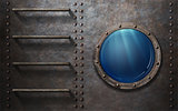 submarine or ship porthole with underwater view