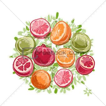 Frame made from fruits, sketch for your design