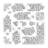 Set of floral vignette, design elements
