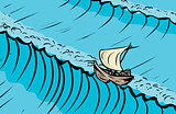 Ship on crest of tall ocean wave