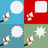 Illustration of megaphone and speech bubbles.