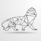 Poly Wireframe Lion