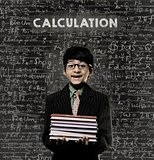Calculation. Genius Little Boy Holding Book Wearing Glasses