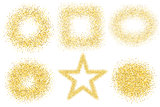Set of six golden sand glitter effect good for banners, greeting carts. Set of star, square and circles.