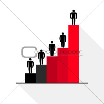Business growth chart, icon, vector