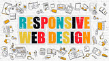 Responsive Web Design Concept. Multicolor on White Brickwall.