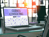 Laptop Screen with Clients Consulting Concept.