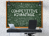 Hand Drawn Competitive Advantage on Office Chalkboard.