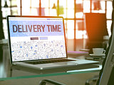 Delivery Time Concept on Laptop Screen.
