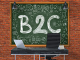 Hand Drawn B2C on Office Chalkboard.