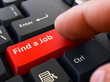 Find a Job - Written on Red Keyboard Key.