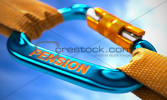 Blue Carabiner with Text Pension.