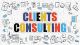 Clients Consulting in Multicolor. Doodle Design.