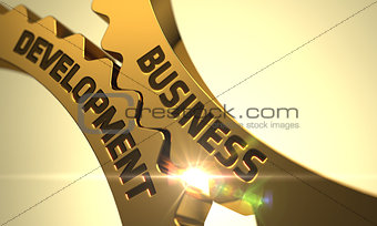 Business Development on the Golden Metallic Cog Gears.