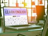 Learn English Concept on Laptop Screen.
