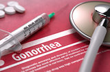 Gonorrhea. Medical Concept on Red Background.