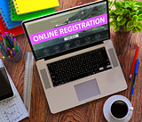 Online Registration Concept on Modern Laptop Screen.
