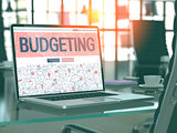 Budgeting on Laptop in Modern Workplace Background.
