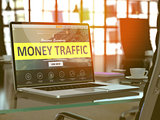 Laptop Screen with Money Traffic Concept.