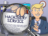 Machinery Service through Magnifying Glass. Doodle Design.