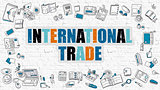 International Trade Concept with Doodle Design Icons.