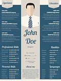 Modern resume cv template in blue