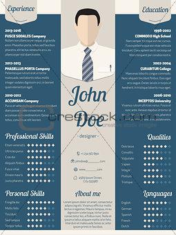 Modern resume cv template in blue