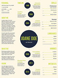 Simplistic resume cv template with dots