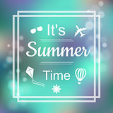 Summer Design. Summer Time blue card design with a textured abstract background and text in square frame, vector illustration.