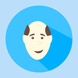 Color vector balding smiles flat icon man face emotion
